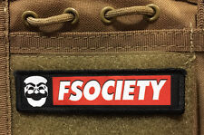 1x4 FSociety Mr Robot Morale Patch Tactical ARMY Hook Military USA Badge Flag