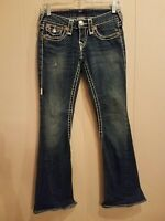 TRUE RELIGION JOEY SUPER T THICK WHITE STITCH FLARE DENIM BLUE JEANS SZ 25 EUC