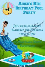 Diy Print Custom Pool Party Summer Slide Birthday Party Invitations