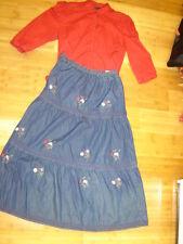Prairie girl western Victorian 2 pc dress red blouse denim embroided skirt L Xl