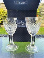 More details for stuart crystal catherine wine goblet glasses 1 pair new
