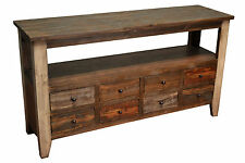 Rustic Solid wood 55 inches wide TV stand Media Console / 8 drawer Sofa Table