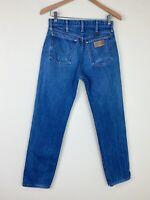 VTG 90s WRANGLER Faded Denim Workwear Jeans 28x31 ACTUAL High Waist USA MADE