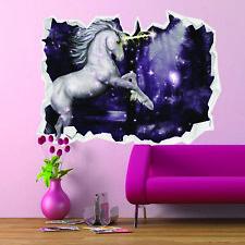 3D Unicorn Forest Wall Break Stickers Fantasy Magic Girls Bedroom Art wbUni005