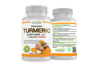 Turmeric and Black Pepper High Strength 120 VEGAN Capsules Organic with Curcumin