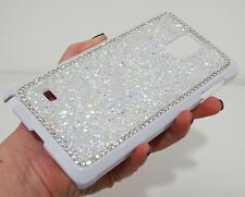 White Clear Frame Made with Swarovski Crystals Bling Case Cover Skin for Note 4