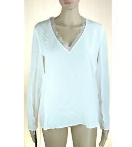 Blusa Camicia Donna Casacca Leggera Top PINKO Seta Crespata I945 Bianco Tg 42 44