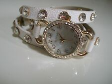 White/Gold Wrap Around Watch with Bling Sparkly Rhinestones Fashion Crystals