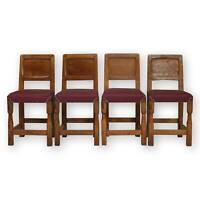 Set of 4 Thomas 'Gnomeman' Whittaker Arts & Crafts Yorkshire School Oak  chairs