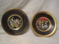 "2 Art of Chokin Japanese decor plate dish rare Ninja Samurai & Peacock 6"""