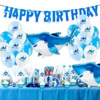 27 Pcs Kids Happy Birthday Party Balloons Set Decor Big Shark Foil Ballon Banner