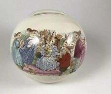 Royal Doulton Bunnykins Round Bank ~ Anthropomorphic Bunny Family with Flowers