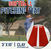 Pro-Ball Softball Pitching Mat with Power Line, Clay - 3 feet x 10 feet