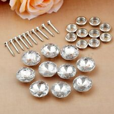 10pcs 20mm Crystal Upholstery Nails Tacks Shiny Screw Sew Buttons Glass & Metal