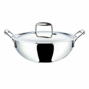 Vinod Stainless Steel Platinum Extra Deep Kadai, 24cm, 3.3 Liter, Wok, Cookware