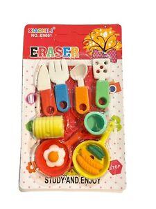 KAWAII 3D Erasers, FAST FOOD, Burger, Fries, Hot Dog Stationary School Supplies