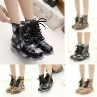 Rain Ankle Boots Jelly Martin Lace up Flat Rubber Wellies Floral Print Rainshoes