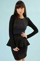 Hale Bob Black Colorblock Knit Top Long Sleeve w Peplum NWT XS S 3DTC2211 *