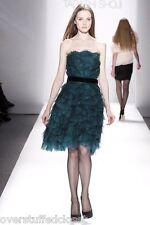 NWT $468 Tadashi Shoji Fan-Pleated Tulle Strapless Belted Dress BLACK 8
