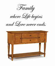 Family where Life begins & Love never endsVinyl Wall Decal Sticky Decor Letter