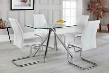 Alexa Chrome And Glass Dining Table Set And 4 Leather Dining Chairs