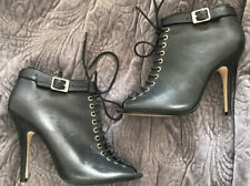 Topshop Black Leather Lace Up High Heel Shoe Stiletto Boots 6 39