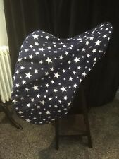 FULL size Navy Blue White Stars fleece saddle cover, Dressage saddle cover