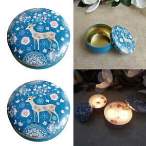 2Set Empty Scented Candles Tin Meatl Candles Tin Jar Box for Wedding Christmas