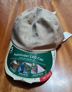 LL Bean LED Lighted Pathfinder Tan Khaki Strapback Baseball Cap Hat