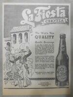 La Fiesta Cerveza Brewed in Trinidad Colorado from 1938 Size: 8 x 11 inches