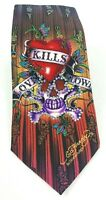 Ed Hardy Christian Audigier Love Kills Slowly Skull Silk Necktie EUC