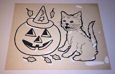 Vintage Halloween Adorable Pet Cat & Pumpkin Drawing By Children's Artist! Fall!
