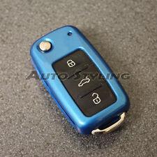 Blue VW SEAT SKODA Remoto Clave Fob Funda Carcasa Piel Carcasa Tapa Protección 57 DBLU