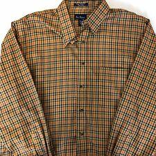 Paul Fredrick Cotton Button Down Polo Shirt XL Plaid Check Orange Houndstooth