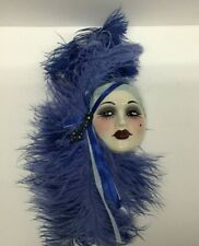 Unique Creations Porcelain Lady Facemask Wall Décor with Feather Accent