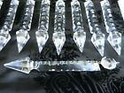 """Lot of Antique Gothic Wheel Cut 7.5"""" Crystal Chandelier Lamp Spear~Icicle Prisms"""