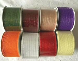 10 Metre Eleganza DECO MESH Waterproof Ribbon 63MM CRAFTS/FLORAL/CAKE/WREATHS