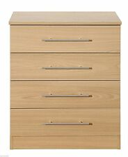 Stylish Arletta Oak Effect 4 Drawer Chest With Premium Round Metal Handles