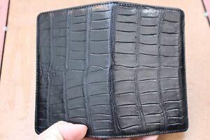 Black Genuine Alligator Crocodile BELLY Skin Leather Passport Holder