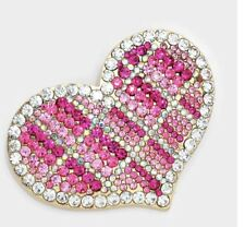 VALENTINES DAY LOVE LARGE DARK PINK LIGHT PINK HEART RHINESTONE BROOCH