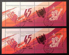 ALBANIA 1989, 45 YEARS SINCE LIBERATION, LOT OF 2 MINIATURE-SHEETS, CANCELLED