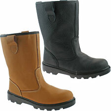 GRAFTERS STEEL TOE SAFETY RIGGER BOOTS SIZE UK 6 - 15 WORK BLACK OR TAN M021 KD