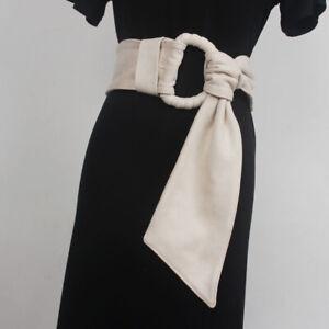 Faux Suede Women Wide Belt Corset for Dress Coat Shirt Retro Obi Waistband Black