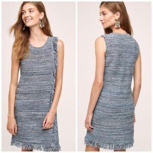 Holding Horses Anthropologie Blue Fringe Knit Sleeveless Dress Size L Boho