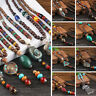 Necklace Pendants Beaded Wood Vintage Multi Pattern Handmade Bohemian Ethnic