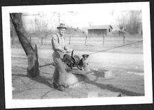 VINTAGE 1939 MONTANA FORESTRY COLLEGE STUDENT DON & SKEETER DOG LIFT HOIST PHOTO