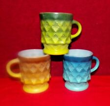 3 Vintage Fire King KIMBERLY Patter Coffee Cup Mugs Blue/Green/Yellow