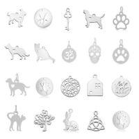10pc 304 Stainless Steel Mini Dangle Pendants Metal Smooth Animal Charms 11~20mm