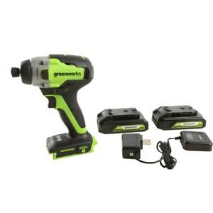 1/4 in. 24-Volt Battery Cordless Brushless Impact Driver (2) 1.5 Ah Batteries