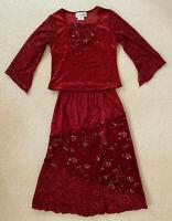 My Michelle ~ Girls Velvet Burgundy Boho Embroidered Blouse/Top & Skirt Size 7/8